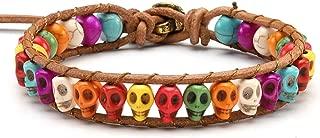 Top Plaza Chakra Leather Bracelet Healing Crystal Stone Bead Adjustable Bracelets Dyed Sea Sedmiment Jasper Skeleton Skull Head Bracelet for Women Men