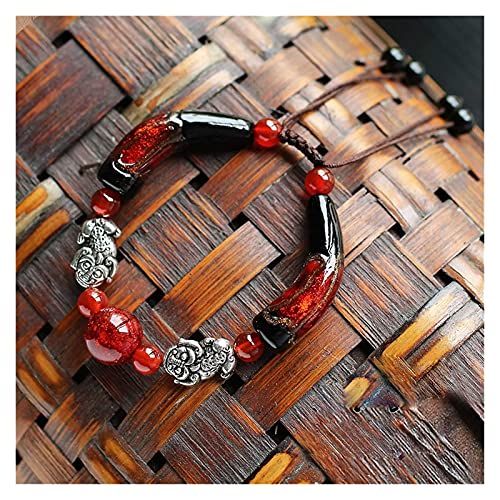 PRTOYO Feng Shui Buena Suerte Pulseras para Las Mujeres Águila Roja Natural Agata Negro Golden Seda Cristal Tibetano Plata Pixiu/PIYAO Universal Ajustable para la Riqueza