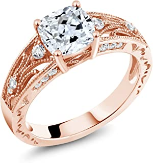 925 Rose Gold Plated Silver Women's Ring, 1.40 Cttw, 6MM Cushion Cut Set with Zirconia from Swarovski