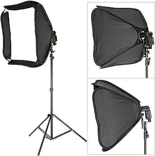 Neewer - Kit de softbox profesional portátil de 60 x 60 cm + soporte de luz para estudio fotográfico de 260 cm para Flash Speedlite Nikon Sb800 Sb600 Sb80DX SB28DX Canon 580EXII 580EX550EX540EZ540EZAF 430EXII 430EXPentax AF540FGZAF360FGZAF Olympus F50R F360 DIMinolta D360 D4FAF