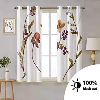 Flower -Insulated Room Darkening Curtains Book Dried Cute Flowers Lilacs Daisies Tulips Leaves Garden Plants Buds Art Print -Blackout Curtains for Bedroom W55 x L72 Inch Multicolor