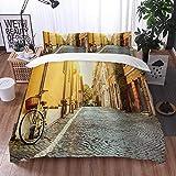 Bedsure Funda Nórdica,Calle Wanderlust en Roma Italia Viajes en bicicleta Destinos de luna de miel Luces del sol y día soleado Imprim,Fundas Edredón 135 x 200 cmcon 1 Funda de Almohada 40x75cm