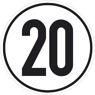 Geschwindigkeitsschild 20 km/h, 20cm nach §58 StVZO, Folienaufkleber zur Anbringung Karosserie aussen, Aufkleber, Geschwindigkeit, rund, für Traktor, LKW, Rollstuhl,