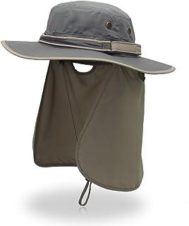 Sombrero de sol para hombre con protección UV al aire libre, sombrero de playa de ala ancha, plegable, sombrero de safari, boonie, sombrero de pesca, con ajustable
