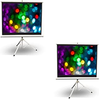 Pyle 50 Inch Fold Out Roll Up Video Projector Display Screen w/Stand (2 Pack)