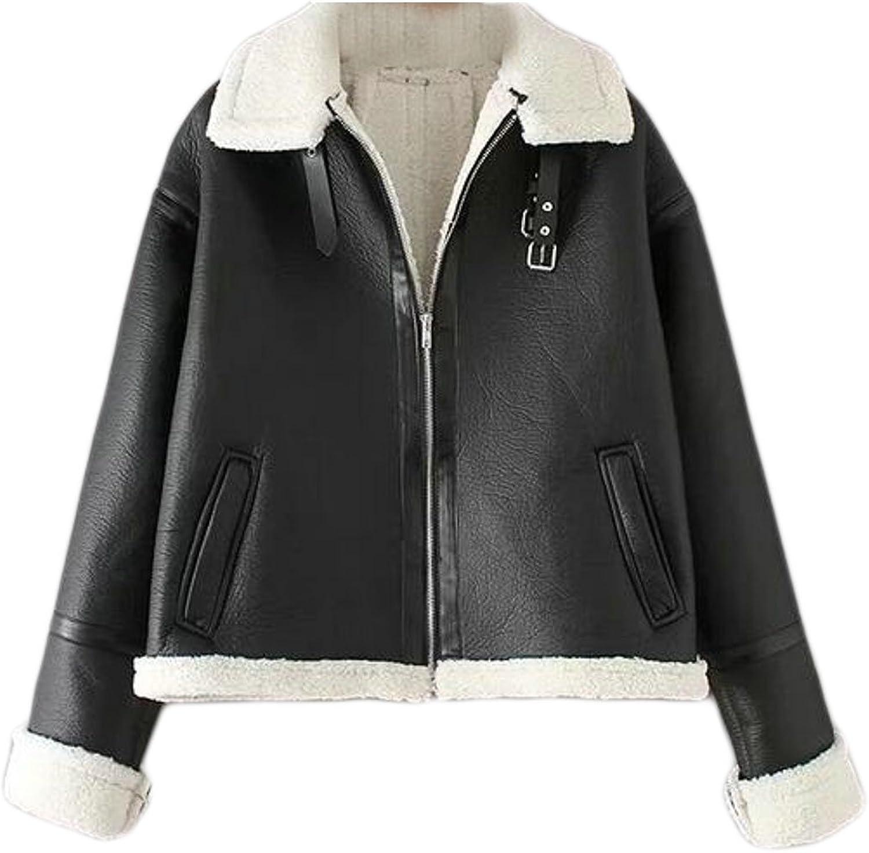 Cruiize Womens Winter FleeceLined Moto Faux Leather Short Jackets Coats
