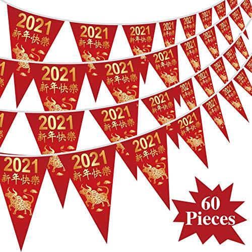 60 Bannière de Fanion Bannières de Banderoles de Fête du Printemps du Bœuf 2021 Imperméables pour Joyeux Nouvel an Chinois Fournitures et Décorations de Fête, 7,4 x 10,8 Pouces ( 5 Séries)