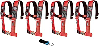 Pro Armor A114220RD P151100 Red 4-Point Harness 2 Inch Straps, 4 Pack RZR UTV Seat Lap Belt with Bypass Clip