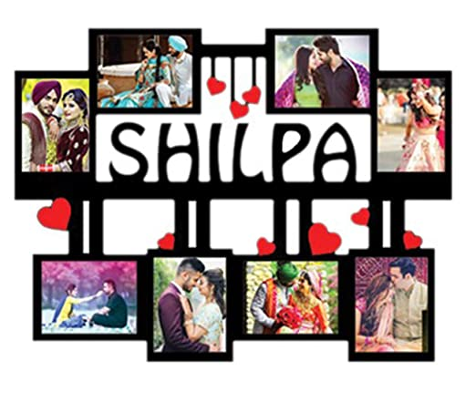 QUVYARTS Personalized Wooden Photo Frame with Name Collage Gift for Couples
