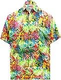 LA LEELA Men's 3D HD Leaves Casual Short Sleeve Aloha Hawaiian Shirt 4XL Multicolor_W568
