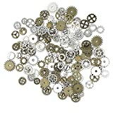130PCS Steampunk Gears Charms - JIALEEY Bronze & Silver Assorted Antique Steampunk Gears Charms Pendant Clock Watch Wheel Gear DIY for Jewelry Making Crafting