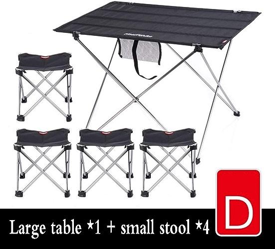 JCCOZ Tables Et Chaises Pliantes Lumière Table Portable Camping en Plein Air Randonnée en Aluminium Support, Table + Tabouret × 4 (Couleur   noir, Taille   S)