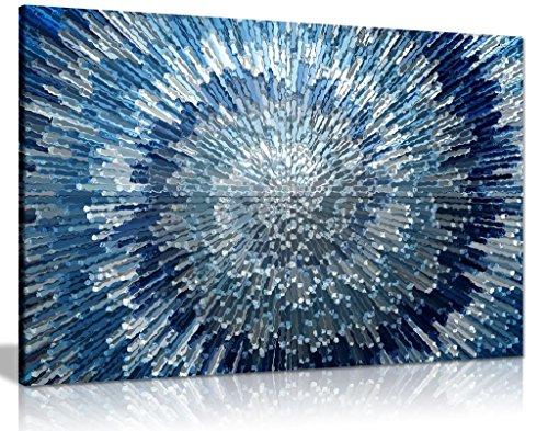 Abstrakt, Blau Silber Spirale mit Canvas Wall Art Print Bild Wandbild, blau / silber, A0 91x61cm (36x24in)