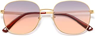 SOJOS Designer Rounded Square عینک آفتابی تخت قاب فلزی لنز آینه دار SJ1137