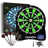 Turnart Diana Electrónica, Diana Electronica Profesional, Dardos Diana Electronica,6 Dardos Juego Digital con Sonido 48 Juegos 500 Variantes (Verde)