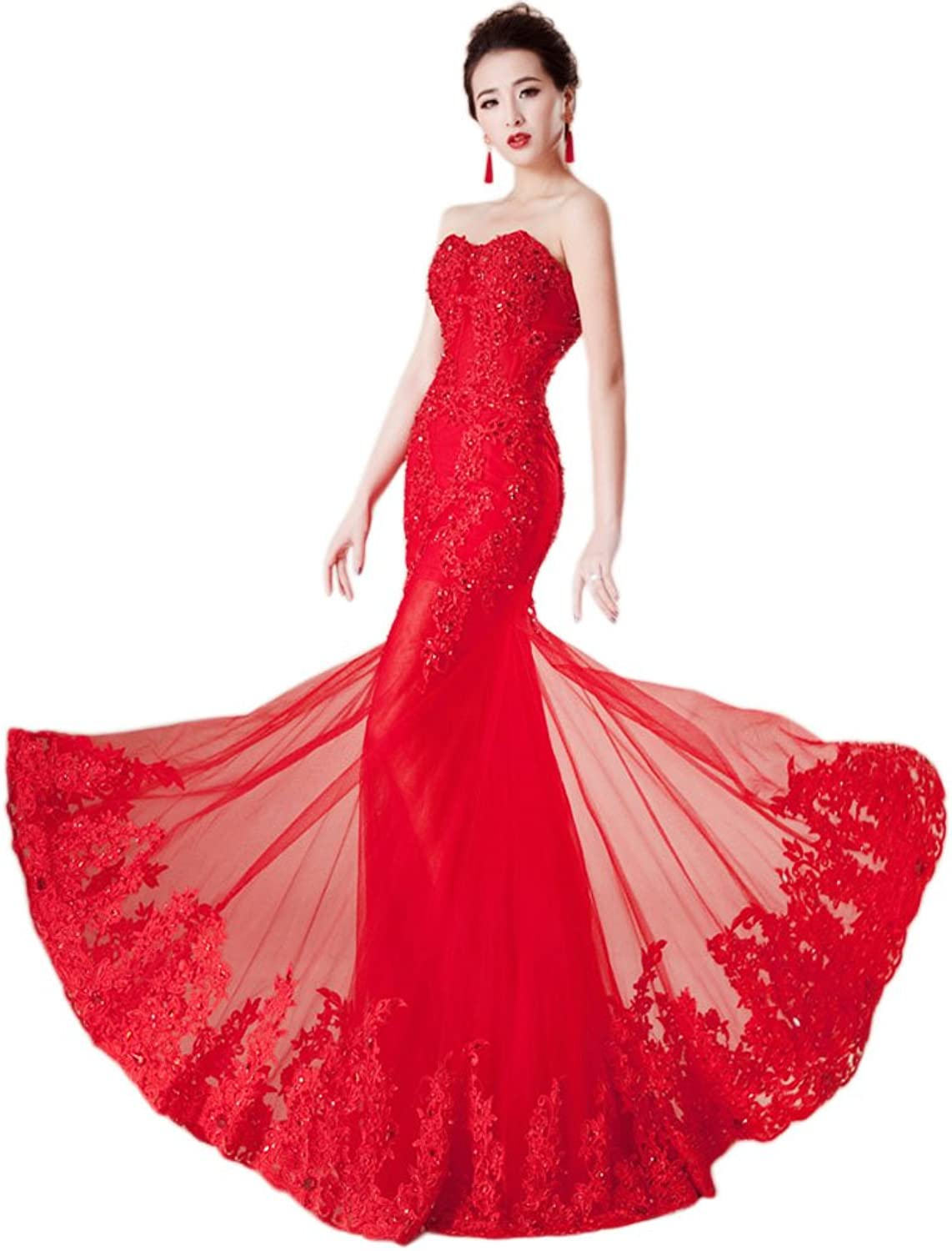 Vimans Women's Red Sweetheart Mermaid Sequined Lace Evening Party Dresses