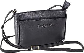 Jennifer Jones Taschen Damen 100% Leder Damentasche Handtasche Schultertasche Umhängetasche Tasche klein Crossbody Bag grau / schwarz / taupe (6126)