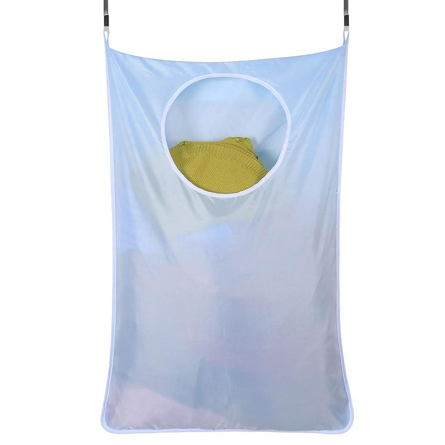 作る同志大佐家庭用収納ハンギングバッグ、ドアの後ろの汚れた服のポケット、携帯用の耐久性のある衣類収納バッグ、オックスフォードの布バッグ (Color : ブルー)
