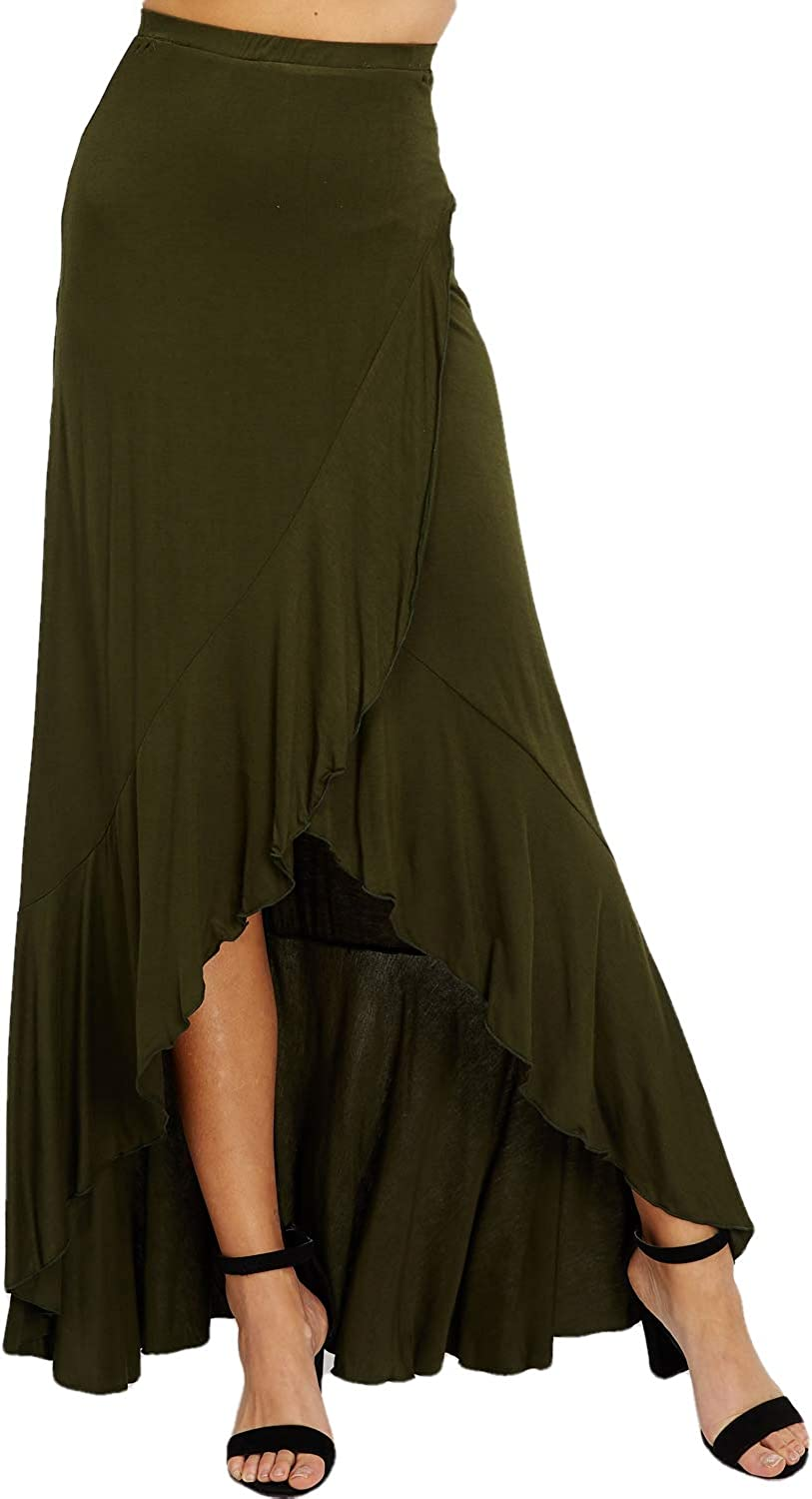 Women's Casual Maxi Long Skirt - High Waisted Solid Draped Ruffle Front Overlap Soft Comfort Lounge S4121 Olive L