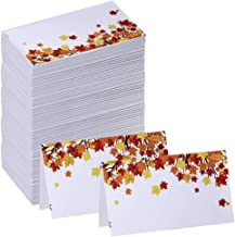 Supla 100 Pcs Fall Wedding Place Cards Escort Cards Maple Leaves Tented Place Cards Guest Table Seating Name Cards Number Cards Buffet Cards 3.5