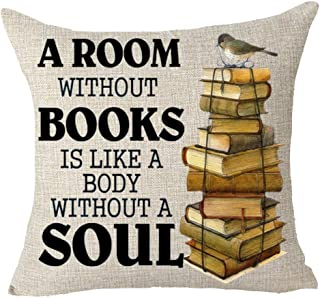 Queen's designer A Room Without Books is Like A Body Without A Soul Retro Books Decoration Cotton Linen Decorative Throw Pillow Case Cushion Cover Square 18