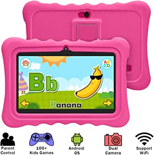 YUNTAB 7 inch Kids Edition Tablet - Android OS & Quad Core CPU, 1GB RAM, 8GB ROM, Kids Software Pre-Installed, Premium Parent Control with Protecting Silicone Case.(No Charger - Rosy)