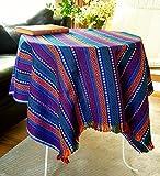 Secret Sea Collection Bohemian Multicolor Striped Cotton Small Square Tablecloth, Picnic Outdoor Blanket, Throw, Washable, Reversible, Design: Deep Sea (40' x 40')