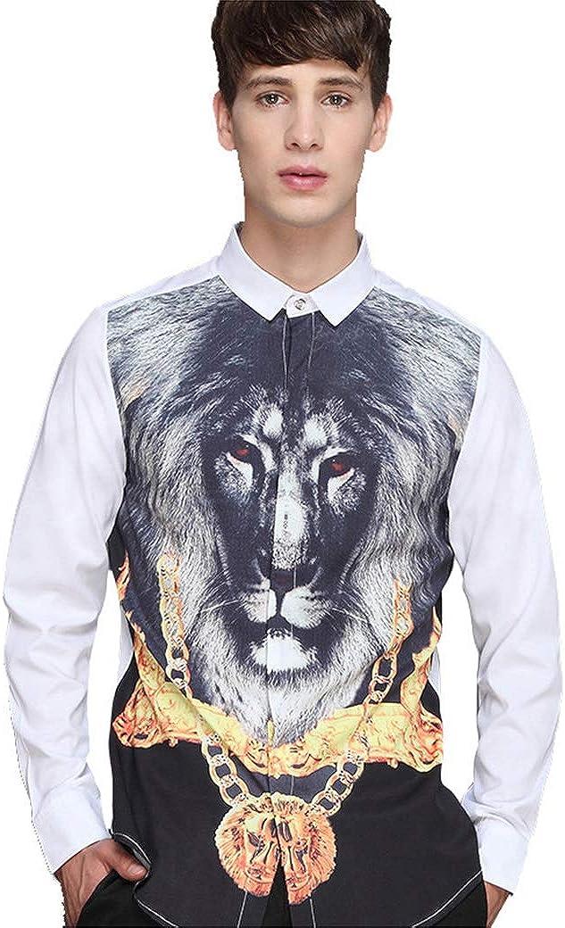 Men's Shirt Fashion Digital 3D Lion Head Print Lapel Slim Long Sleeve Shirt