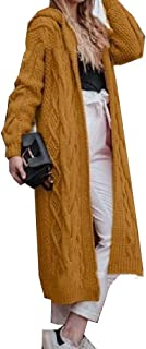 neveraway Womens Plus-Size Knitwear Full Length Solid Warm Hood Cardigan Sweater