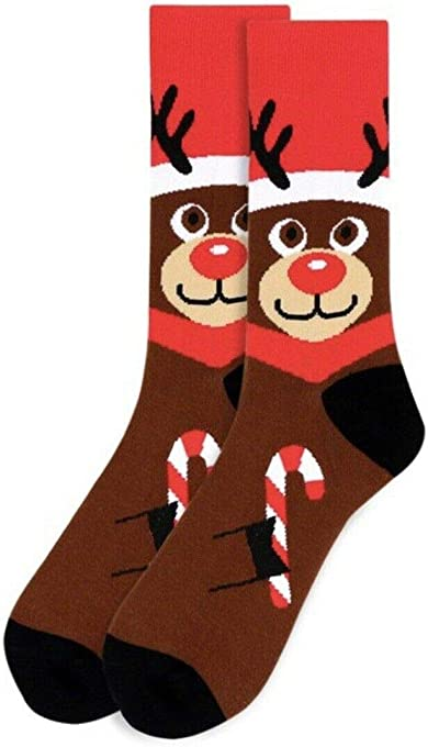 Men's Christmas Rudolph the Red Nose Reindeer Holiday Novelty Dress & Trouser Crew Socks
