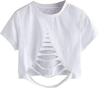 Tshirt Camo Print Distressed Crop T-Shirt