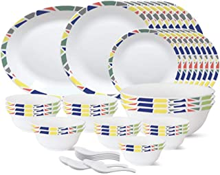 Larah By Borosil - Tiara Series, Garnet, 44 Pcs, Opalware Dinner Set, White