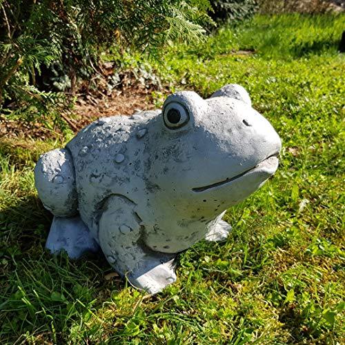 Niedlicher Frosch groß handbemalt frostfest Garten-Deko für außen Brunnen Yoga Feng ShuiSteinfigur