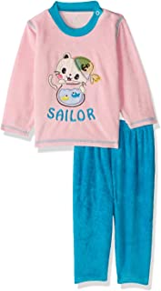 Jockey Front Embroidery Long Sleeves Round Neck Sweatshirt with Pants Pajama Set for Girls - Pink and Turquoise, 12 - 18 M...