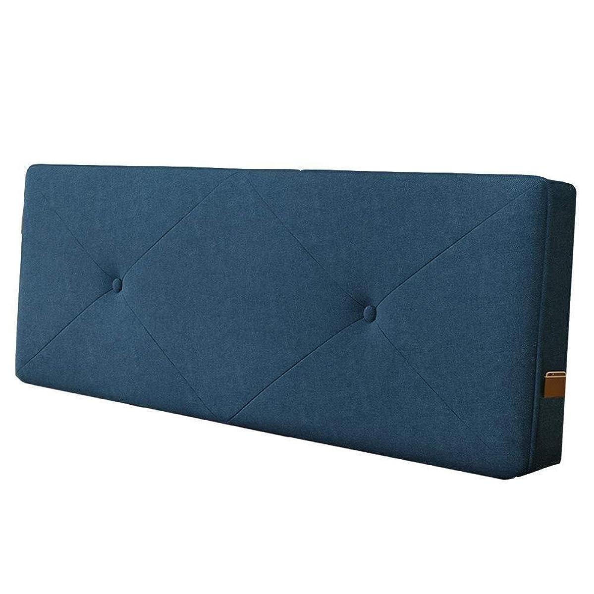 フィドル農村有利NJYT ベッドサイドクッション腰パッド枕サポート綿スポンジ背もたれ肌に優しい高反発柔らかい洗えるダブルベッド、4サイズ (Color : Navy Blue 1, Size : 200X60cm)