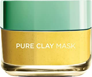 L'Oreal Paris Pure Clay Yellow Face Mask with Yuzu Lemon, Cleanses and Evens skin tone, 50 ML