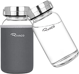 Ryaco Glasflasche Trinkflasche 800ml Breiter Mund Borosilikat Classic Tragbare BPA-frei..