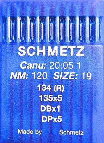 SCHMETZ 10 agujas redondas para máquina de coser, sistema 134 (R), industria St. 120