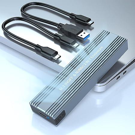Rocketek Adaptador de Caja M.2 NVME y SATA SSD, USB C 3.1 Gen 2 10Gbps NVME PCI-E y SATA NGFF Unidad de Estado Sólido, Estuche para Disco Duro para M.2 M Key y B + M Key, para SSD 2230/2242/2260/2280