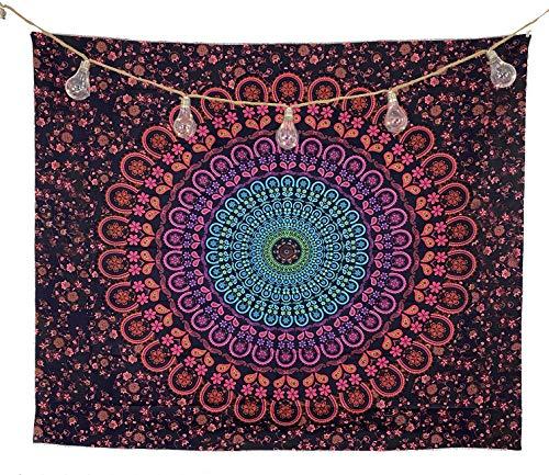 bh+ Wandteppich Mandala | Indisches Psychedelic Wandtuch | Wanddeko Schlafzimmer | 130x150 cm | Orientalische Boho Deko | Indische Wandbehang Decke | Inklusive Wandhacken (Schwarz-Rot-Türkis)