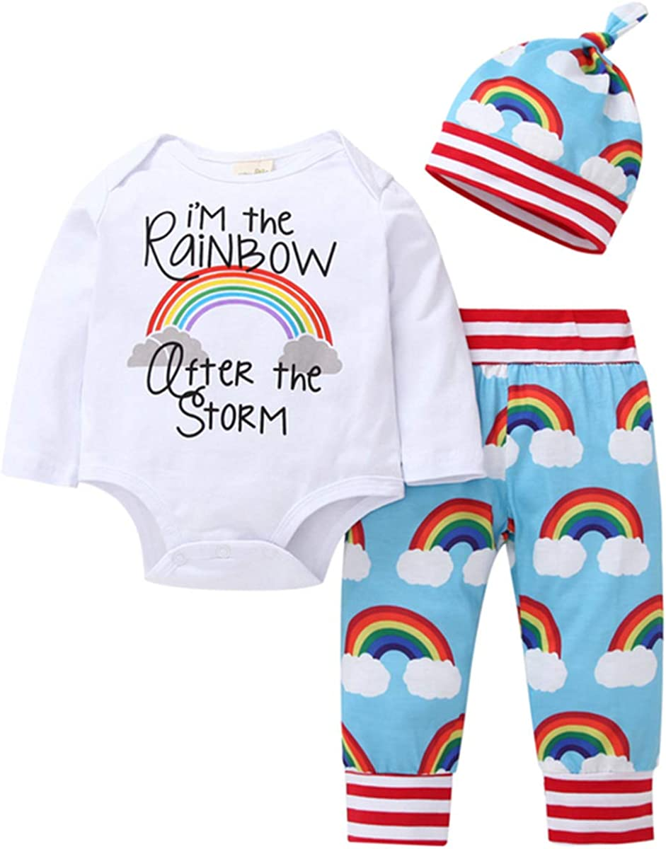 Newborn Infant Baby Girl Outfit Letter Print Long Sleeve Romper + Cloud Rainbow Pants + Hat