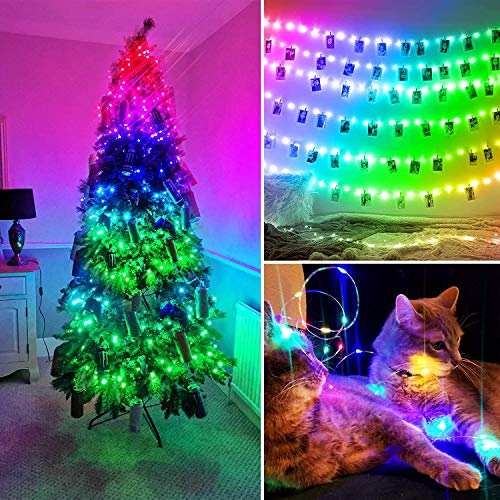 Nobent Upgrade Fairy String Lights USB - Music Sync RGB Copper Wire Fairy Lights with Remote, Twinkle Firefly Starry Lights Colour Changing for Indoor Outdoor Bedroom Wedding Party Kitchen Decor, 10m