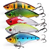 Sougayilang Fishing Lures Large Hard Bait Minnow VIB Lure with Treble Hook Life-Like Swimbait Fishing Bait Popper Crankbait Vibe Sinking Lure for Bass Trout Walleye Redfish