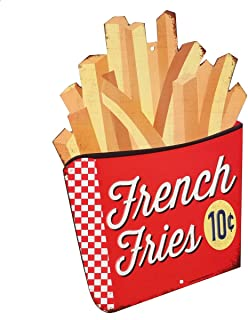 Open Road Brands 90150389 Die Cut Embossed Tin Sign, French Fries