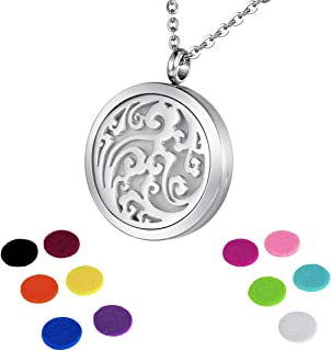 HOUSWEETY Aromatherapy Essential Oil Diffuser Necklace-Stainless Steel Locket Pendant,11 Refill Pads (Non-Engraving)