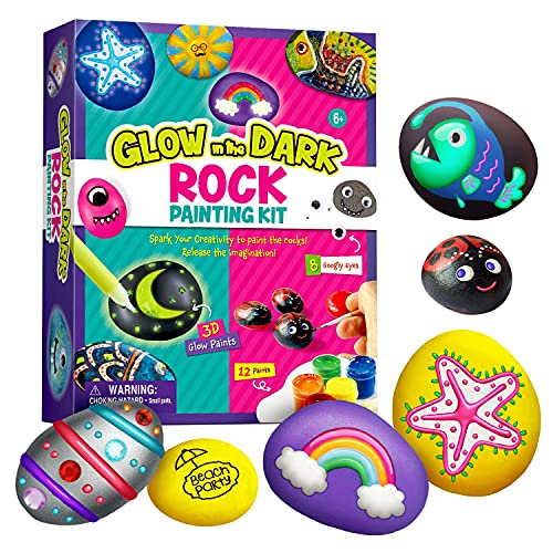 XXTOYS Rock Painting Kit for Kids - Arts and Crafts for Girls & Boys - Glow in The Dark Rock Painting - Craft Art Kit -Hide and Seek Activities, Great Craft Creative Gift for Ages 4-8