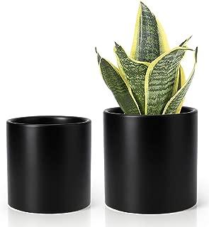 Greenaholics Plant Pots - 5.9 + 4.7 Inch Matt Ceramic Planter for Flower, Cactus, Succulent Planting, with Drainage Hole, Set of 2, Black