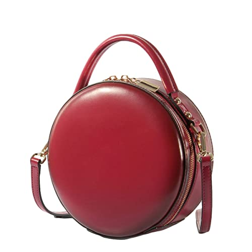 Women s Round Handbag Genuine Leather Handbags For Ladies Crossbody Bags  Small Mini Circle Red Black White 5a38983066