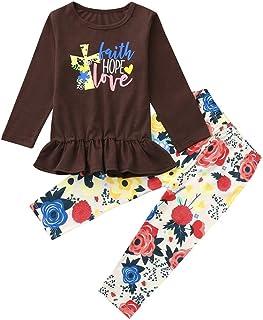 95bfc80e1136e Ensemble Bébé Fille Binggong Vêtements 2 PC Enfants Bébé Filles À Manches  Longues Lettre Imprimer Tops