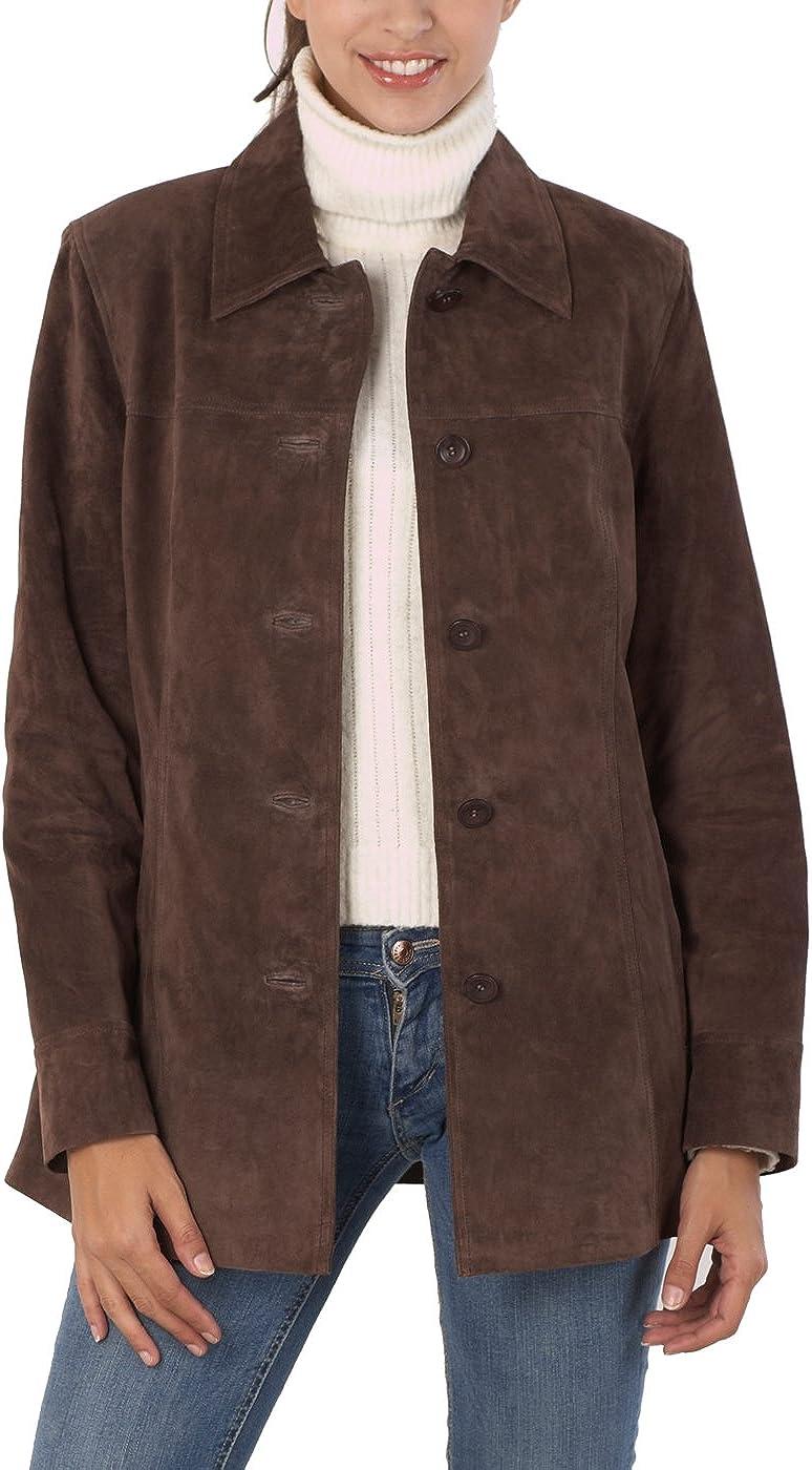 BGSD Women's Anna Suede Leather Car Coat (Regular & Plus Size & Petite)